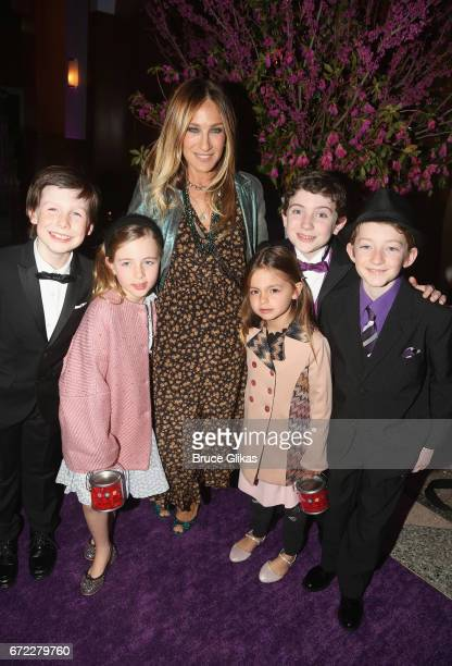 Sarah Jessica Parker and daughters Tabitha Broderick and Marion Broderick pose with the 3 'Charlies' Jake Ryan Flynn Ryan Foust and Ryan Sell at the...