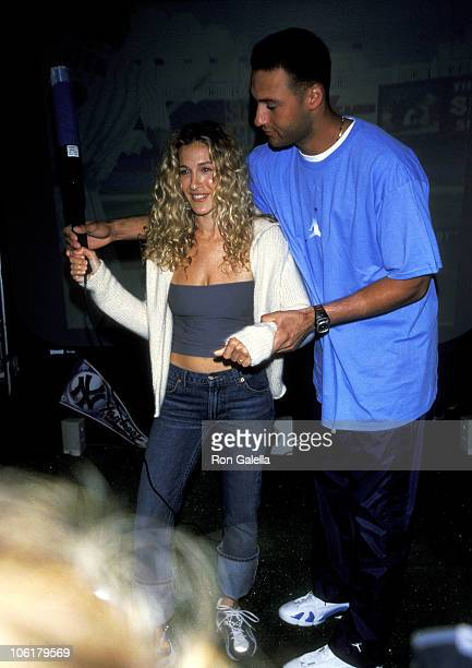 Sarah Jessica Parker and Derek Jeter during Launch of the New Macy's Sports Shop August 16 1990 at Macy's Herald Square in New York City New York...