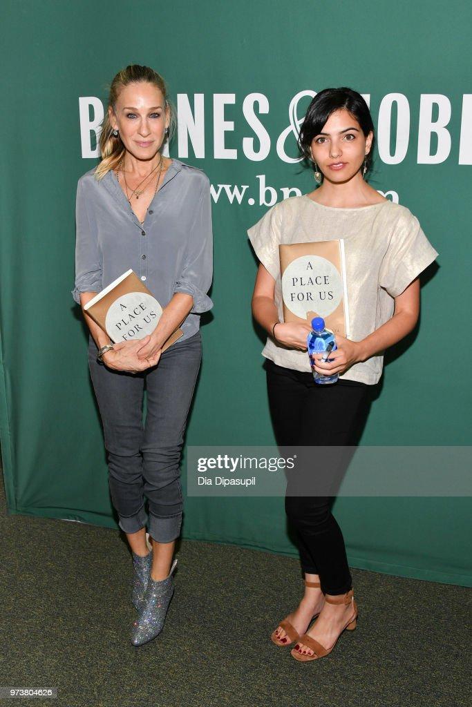 Sarah Jessica Parker (L) and Fatima Farheen Mirza attend Fatima Farheen Mirza in conversation with Sarah Jessica Parker and Lisa Lucas at Barnes & Noble Union Square on June 13, 2018 in New York City.