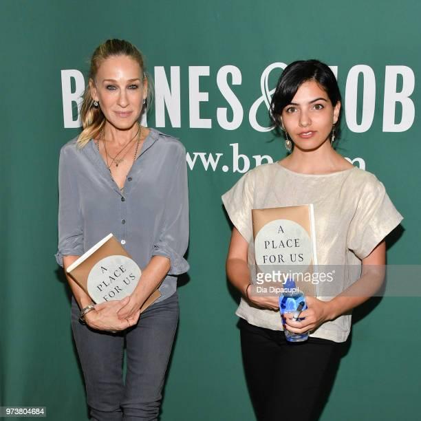 Sarah Jessica Parker and Fatima Farheen Mirza attend Fatima Farheen Mirza in conversation with Sarah Jessica Parker and Lisa Lucas at Barnes Noble...