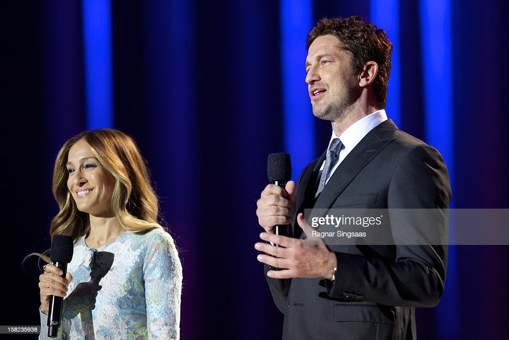 Sarah Jessica Parker and Gerard Butler host the Nobel Peace Prize Concert at Oslo Spektrum on December 11, 2012 in Oslo, Norway.