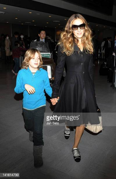 Sarah Jessica Parker and her son James Wilke Broderick arrive at Narita International Airport on March 20 2012 in Narita Japan
