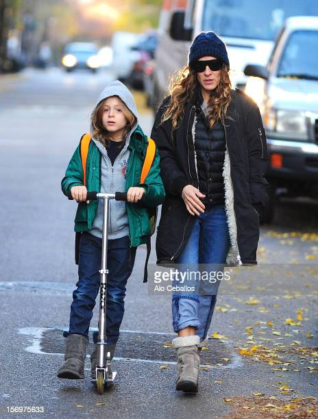 Sarah Jessica Parker and James Wilkie Broderick are seen in the West Village at Streets of Manhattan on November 26 2012 in New York City