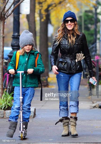 Sarah Jessica Parker and James Wilkie Broderick are seen in the West Village at Streets of Manhattan on December 3 2012 in New York City