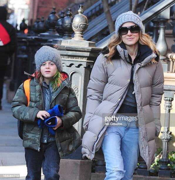 Sarah Jessica Parker and James Wilkie Broderick are seen in the West Village on March 4 2013 in New York City