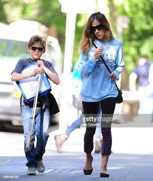 Sarah Jessica Parker and James Wilkie Broderick are seen in the West Village on May 10, 2013 in New York City.