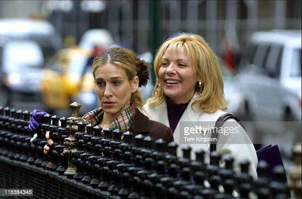 """Sarah Jessica Parker and Kim Cattral during Filming """"Sex and the City"""" on March 15, 2001 at Streets of New York in New York City, New York, United..."""
