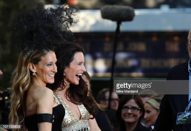 Sarah Jessica Parker and Kristin Davis attend the UK premiere of Sex And The City 2 at Odeon Leicester Square on May 27 2010 in London England