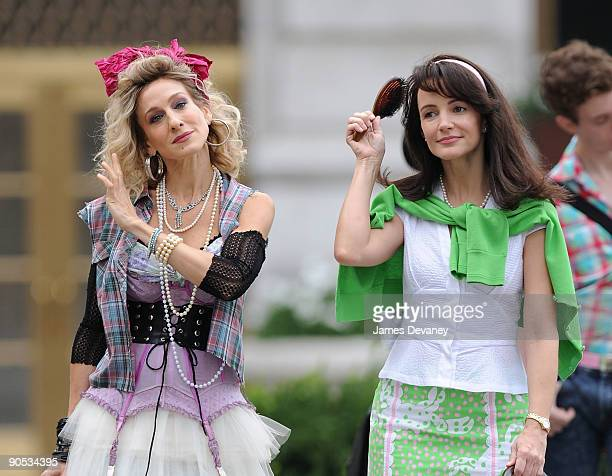 Sarah Jessica Parker and Kristin Davis filming on location for 'Sex And The City 2' on the Streets of Manhattan on September 9 2009 in New York City