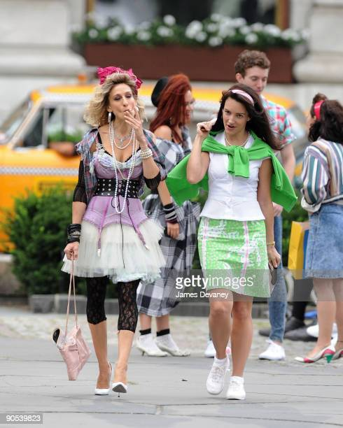Sarah Jessica Parker and Kristin Davis filming on location for Sex And The City 2 on the Streets of Manhattan on September 9 2009 in New York City