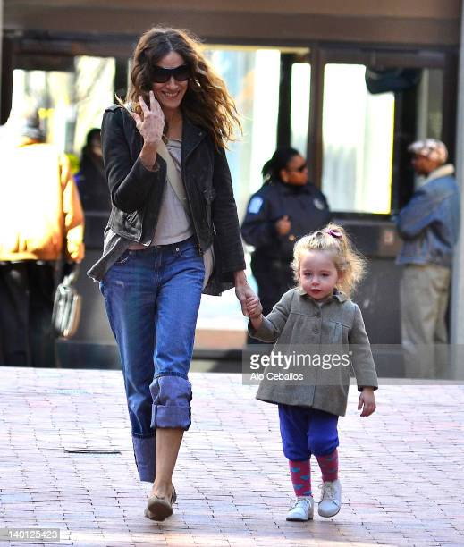 Sarah Jessica Parker and Marion Loretta Elwell Broderick are seen at Streets of Manhattan on February 28 2012 in New York City