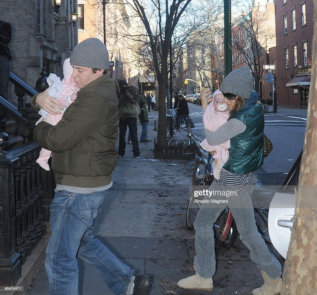Sarah Jessica Parker and Mathew Broderick are seen with baby girls outside December 27, 2009 in New York City.