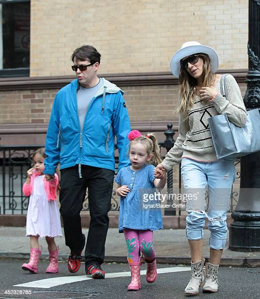 June 13: Sarah Jessica Parker and Mathew Broderick are seen with their children Tabitha Broderick and Marion Broderick on June 13, 2013 in New York...