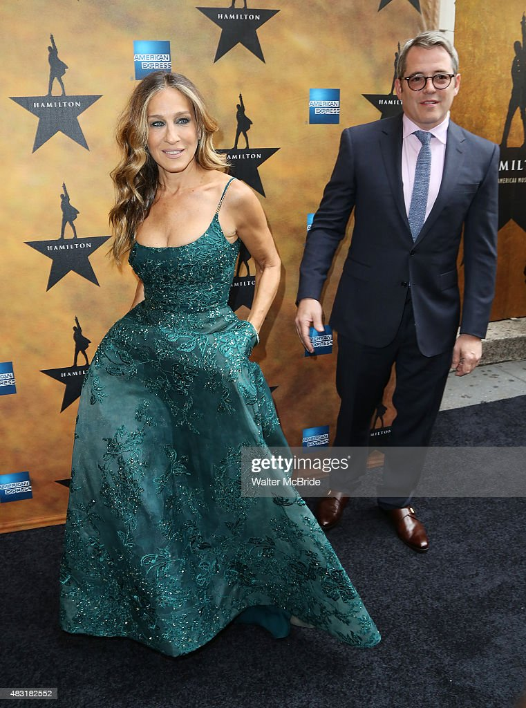Sarah Jessica Parker and Matthew Broderick attend the Broadway opening night performance of'Hamilton' at the Richard Rodgers Theatre on August 6, 2015 in New York City.
