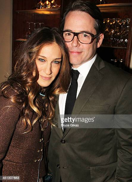 """Sarah Jessica Parker and Matthew Broderick attends the opening night after party for """"The Commons Of Pensacola"""" at Brasserie 8 1/2 on November 21,..."""