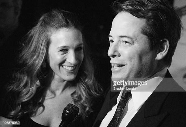 Sarah Jessica Parker and Matthew Broderick during The American Theatre Wing's Annual Spring Gala Honoring Matthew Broderick and Nathan Lane at...