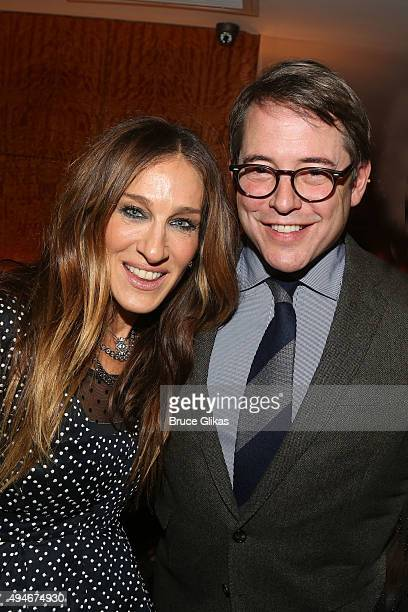 Sarah Jessica Parker and Matthew Broderick pose at the Opening Night After Party for 'Sylvia' on Broadway at The Bryant Park Grill on October 27 2015...