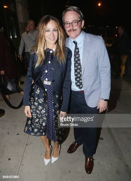 Sarah Jessica Parker and Matthew Broderick pose at the opening night after party for Irish Rep's production of The Seafarerat Crompton Ale House on...