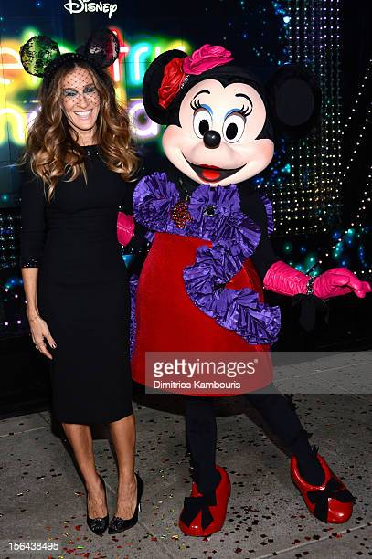 Sarah Jessica Parker and Minnie Mouse attend the Unveiling Moment At Barneys New York Disney Electric Holiday Spectacular With Sarah Jessica Parker...