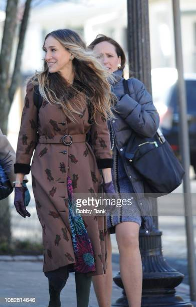 Sarah Jessica Parker and Molly Shannon filming on location for 'Divorce' on January 14 2019 in Tarrytown New York