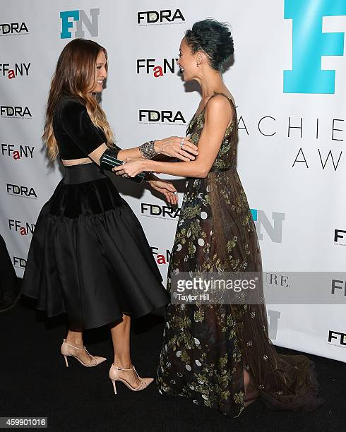 Sarah Jessica Parker and Nicole Richie attend the 2014 Fashion Footwear Association Of New York Awards at IAC Building on December 3 2014 in New York...
