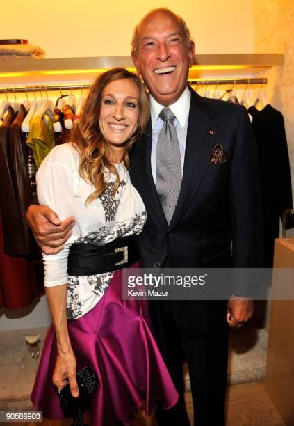 Sarah Jessica Parker and Oscar de la Renta attend the Oscar de la Renta Fashion's Night Out party at the Oscar de la Renta Boutique on September 10...