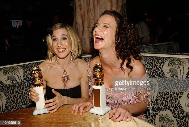 Sarah Jessica Parker and Rachel Griffiths with their awards at the HBO after party at the Golden Globe Awards at the Beverly Hilton Hotel in Beverly...