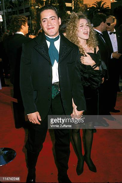 Sarah Jessica Parker and Robert Downey Jr attending the 1989 Academy Awards in Los Angeles 03/29/89