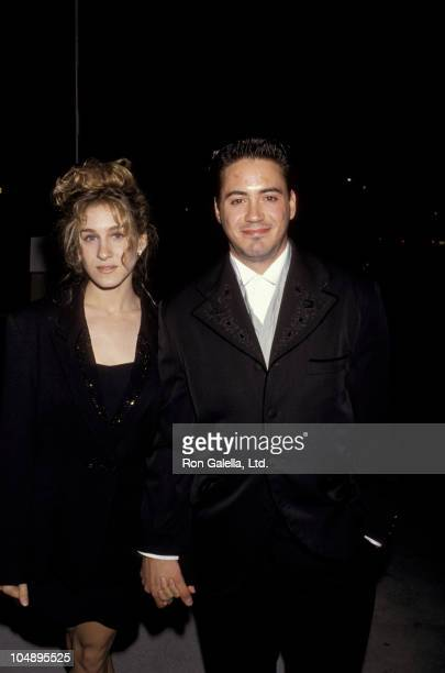 Sarah Jessica Parker and Robert Downey Jr during Swifty Lazar's Oscar Party March 26 1990 at Spago in Beverly Hills California United States