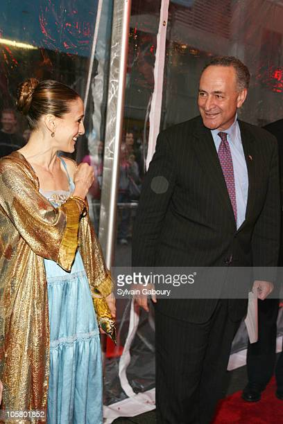 Sarah Jessica Parker and Senator Chuck Schumer during Rent 10th Anniversary celebration Theater Arrivals at Nederlander Theater in New York NY United...