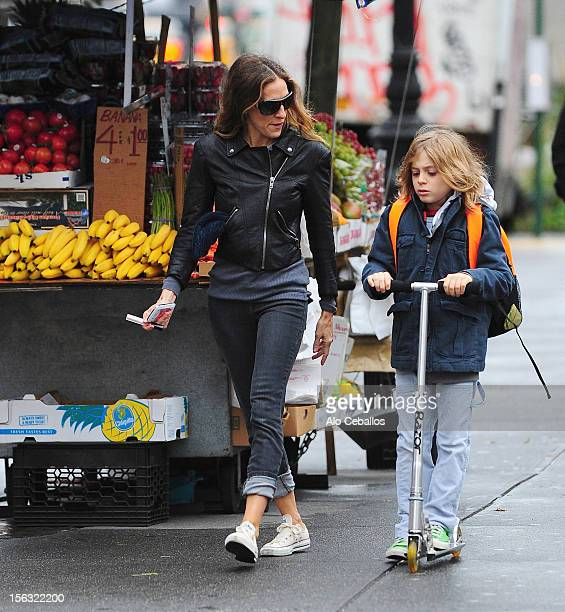 Sarah Jessica Parker and son James Broderick sighted in the West Village at Streets of Manhattan on November 13, 2012 in New York City.