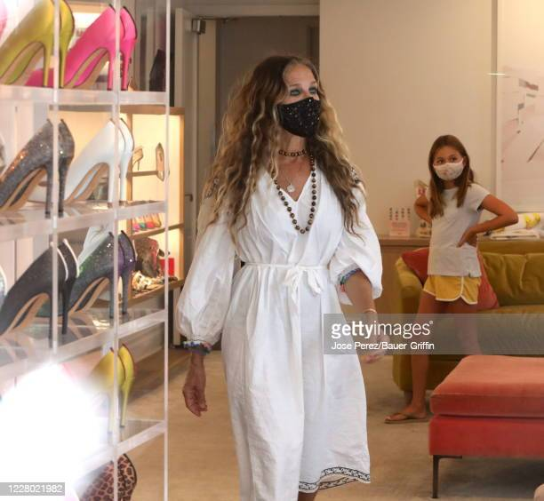 Sarah Jessica Parker and Tabitha Hidge Brodericks are seen on August 12 2020 in New York City