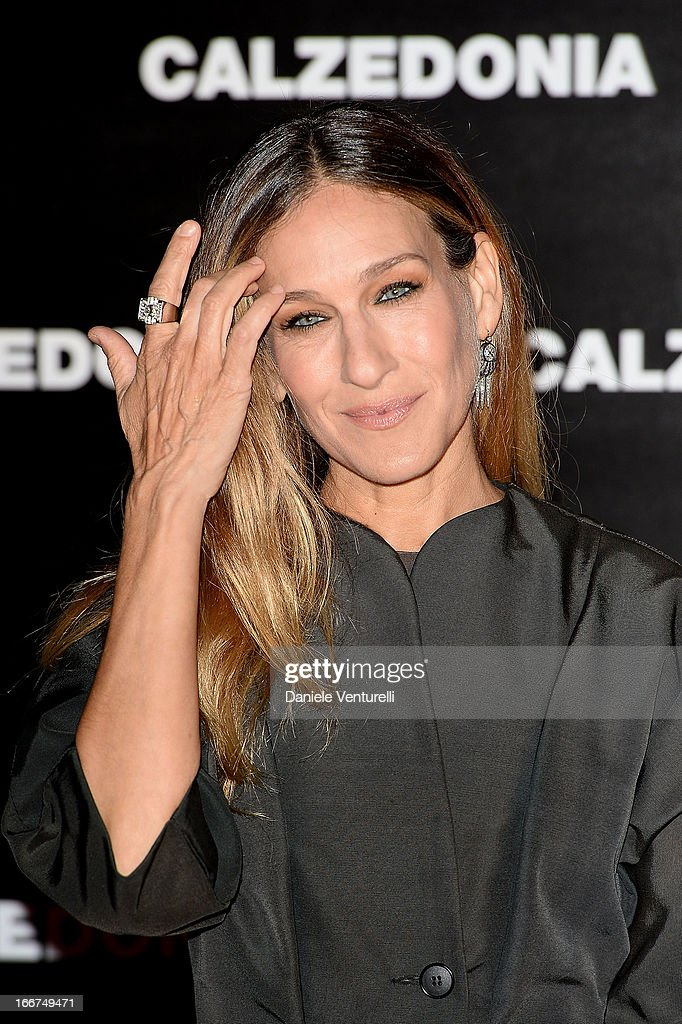 Sarah Jessica Parker arrives at the Calzedonia 'Forever Together' show on April 16, 2013 in Rimini, Italy.