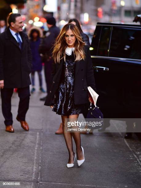 Sarah Jessica Parker arrives at the 'The Late Show With Stephen Colbert' at the Ed Sullivan Theater on January 10 2018 in New York City