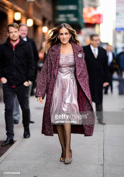 Sarah Jessica Parker arrives to 'The Late Show With Stephen Colbert' at the Ed Sullivan Theater on October 30 2018 in New York City