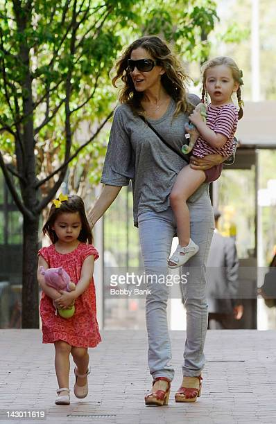 Sarah Jessica Parker collects her daughters Tabitha Broderick and Marion Broderick from day care on April 17 2012 in New York City
