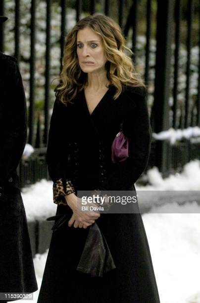 Sarah Jessica Parker during 'Sex and The City' on Location December 1 2003 at New York City in New York NY United States