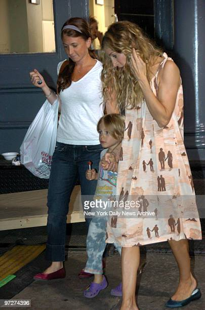 Sarah Jessica Parker escorts her son from the movie shoot where he visited while his mom filmed Sarah stayed on the set after she sent her son homeat...
