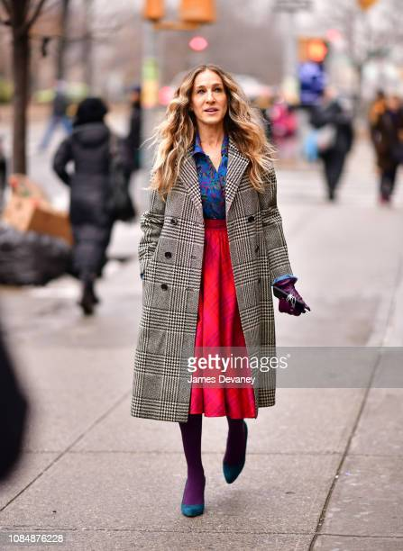 Sarah Jessica Parker filming on location for 'Divorce' on the streets of Manhattan on January 18 2019 in New York City