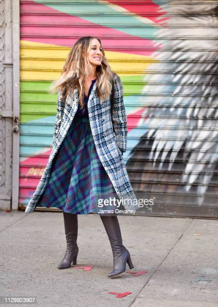 Sarah Jessica Parker filming on location for 'Divorce' on the streets of Manhattan on March 11, 2019 in New York City.