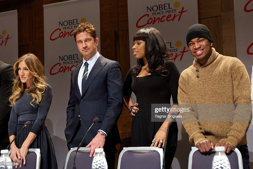 Sarah Jessica Parker, Gerard Butler, Jennifer Hudson and Ne-Yo attend a press conference ahead of the Nobel Peace Prize Concert at Radisson Blu Plaza Hotel on December 11, 2012 in Oslo, Norway.
