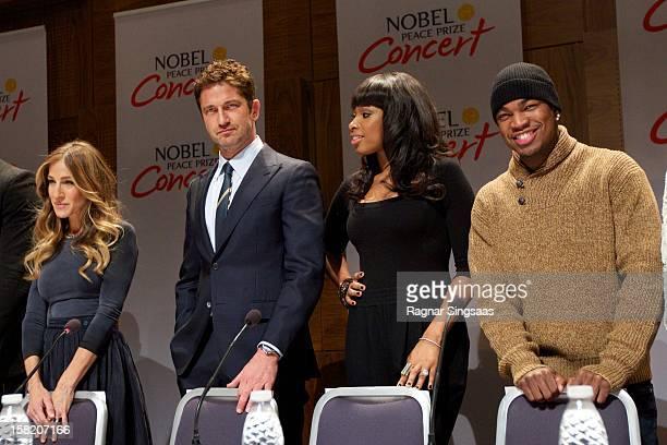 Sarah Jessica Parker, Gerard Butler, Jennifer Hudson and Ne-Yo attend a press conference ahead of the Nobel Peace Prize Concert at Radisson Blu Plaza...