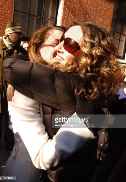 Sarah Jessica Parker hugs Kristin Davis on Davis' last day of filming on the set of Sex And The City on Park Ave and 92nd Street February 4 2004 in...