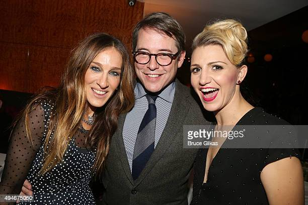 Sarah Jessica Parker husband Matthew Broderick and Annaleigh Ashford pose at the Opening Night After Party for 'Sylvia' on Broadway at The Bryant...