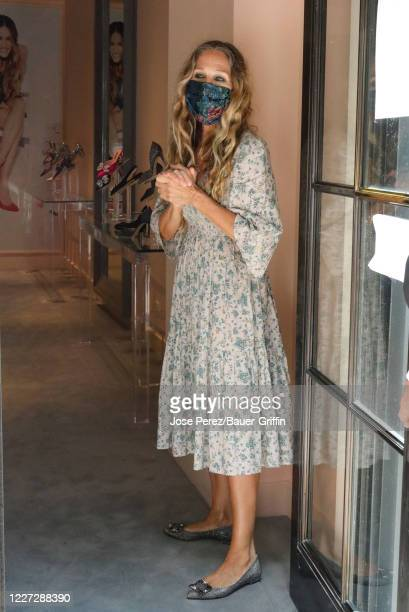 Sarah Jessica Parker is seen at her designer shoe store on July 15, 2020 in New York City.