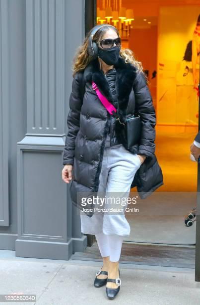 Sarah Jessica Parker is seen attending 'SJP By Sarah Jessica Parker' shoes store on January 12, 2021 in New York City.
