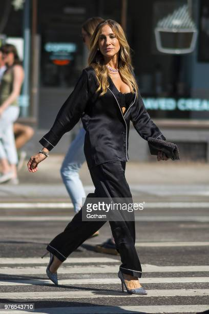 Sarah Jessica Parker is seen during a photoshoot for Intimissi in the West Village on June 16 2018 in New York City