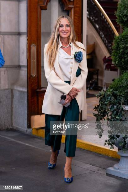 """Sarah Jessica Parker is seen filming """"And Just Like That..."""" the follow up series to """"Sex and the City"""" in Midtown on July 23, 2021 in New York City."""
