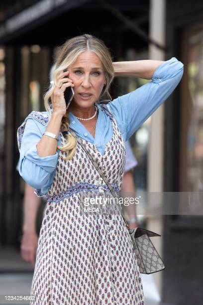 Sarah Jessica Parker is seen filming on July 27, 2021 in New York City, New York.