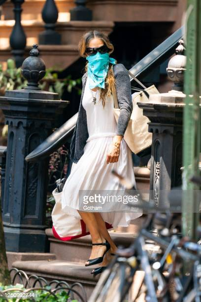 Sarah Jessica Parker is seen in the West Village on June 20, 2020 in New York City.